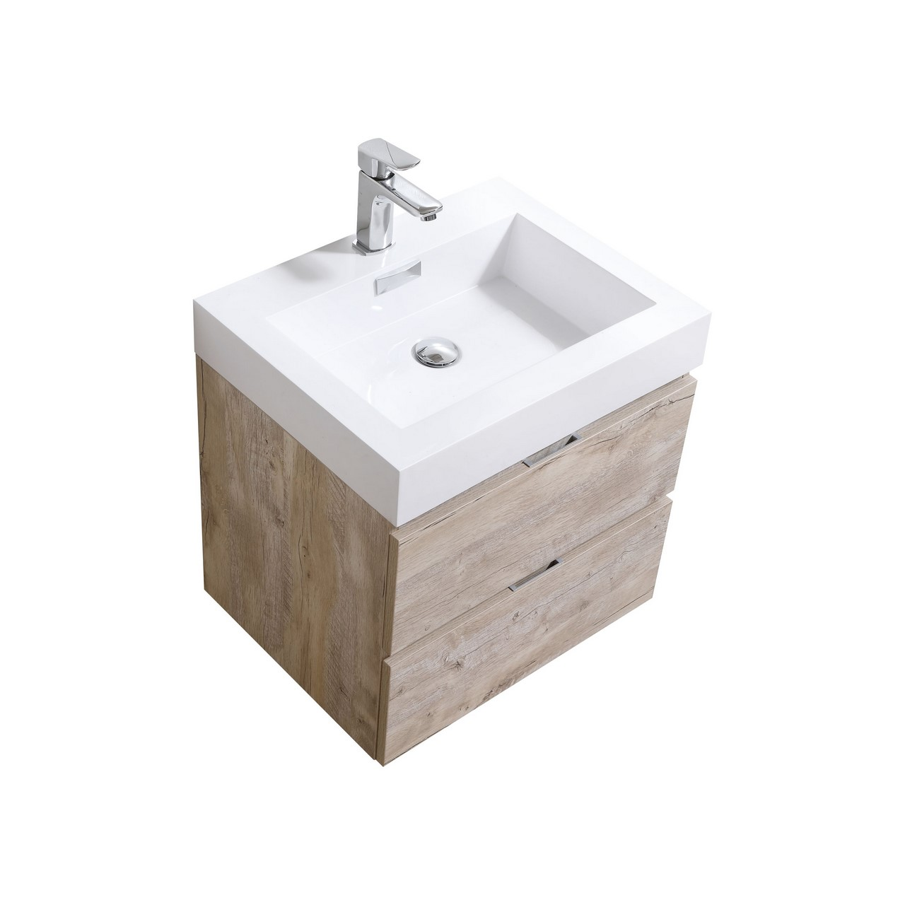 "Kubebath - 24"" Floating Vanity Set - Natural Finish"