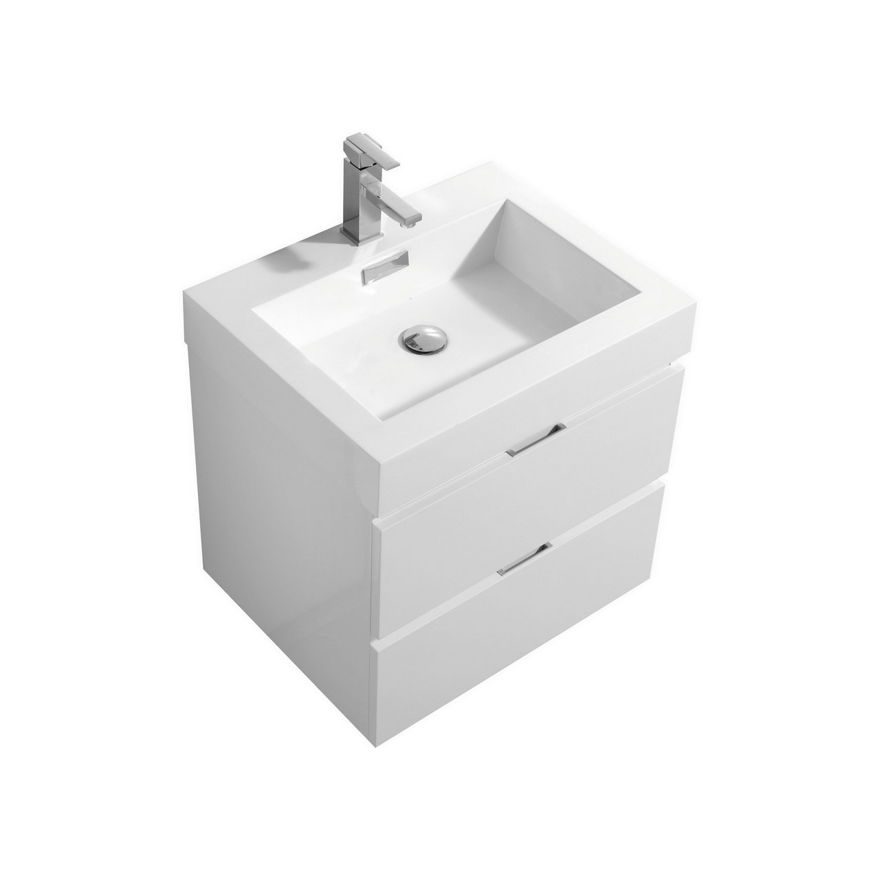 "Kubebath - 24"" Floating Vanity Set - White Finish"