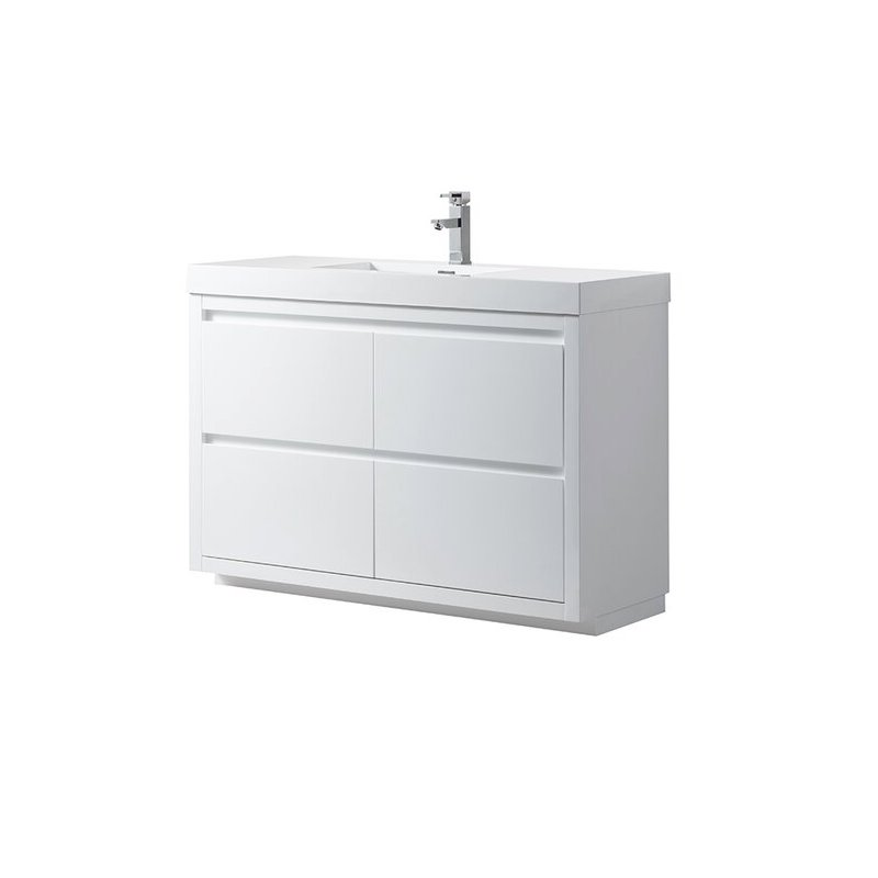 "Kubebath - 48"" Freestanding 4-Door Vanity Set - White Finish"