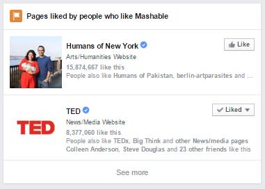Cette image montre comment la recherche graphique de Facebook montre des pages aimées par des personnes similaires à la vôtre pour augmenter l'engagement.