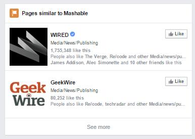 """Cette image montre comment la recherche graphique de Facebook s'affiche """"pages similaires"""" pour augmenter l'engagement."""