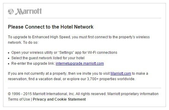 This Picture Shows How Marriott Hotels Uses Their Wifi Post Click Landing Page To Upgrade
