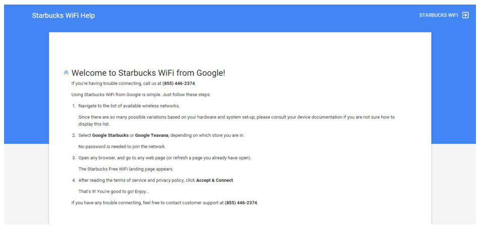 This Picture Shows How Starbucks Uses Their Wifi Post Click Landing Page To Engage Customers