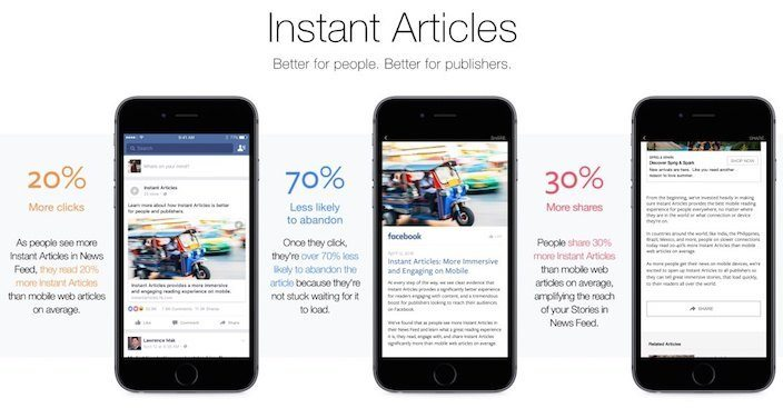 This picture shows advertisers how to get more clicks, fewer bounces, and more shares using Facebook Instant Articles.