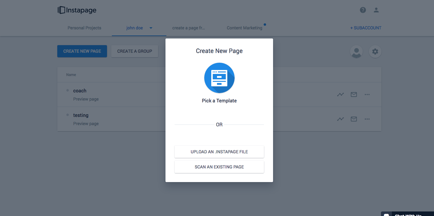 Instapage's Template Importer Feature