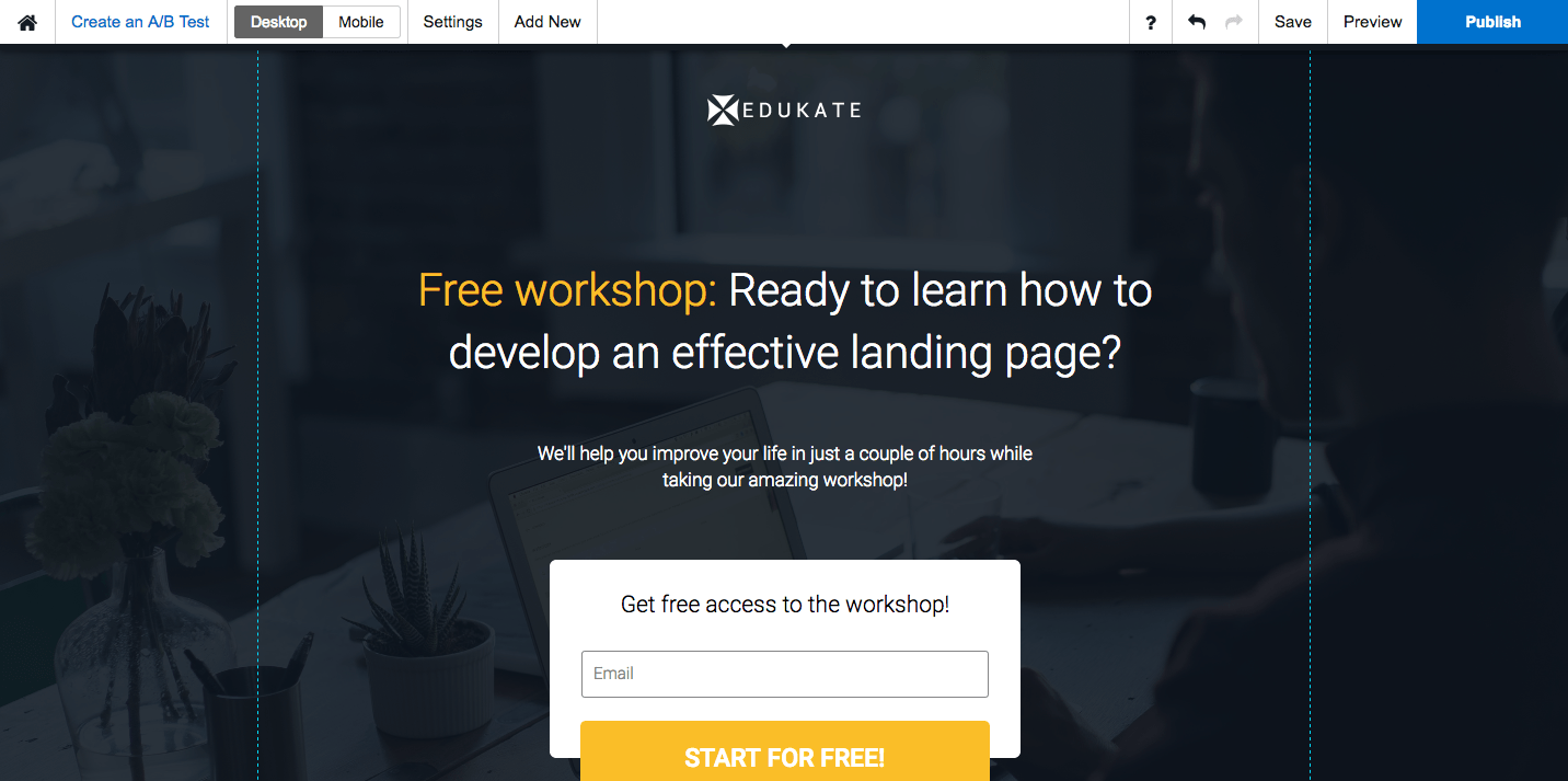 Preview and Publish post-click landing pages with Instapage