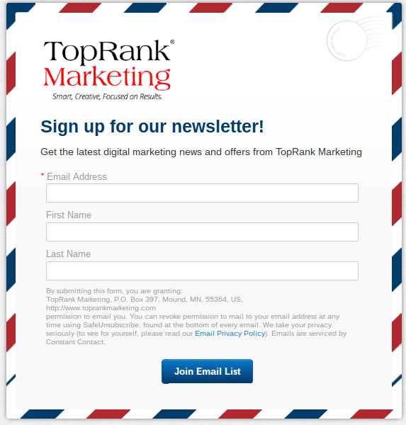 This picture shows how Top Rank Marketing uses a simple form to generate  leads from its cebc97c172b4