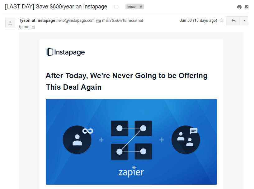 This Picture Shows How Instapage Uses Scarcity And Savings In Its Email Subject Lines To Maximize