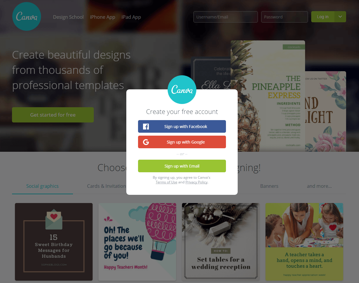 6 signup page design practices for frictionless formsthis picture shows canva\u0027s sign up page and how they optimize it with social buttons and