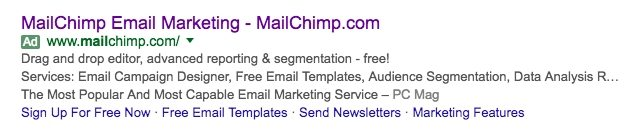 This picture shows how MailChimp PPC ads display at the top of search engine results for