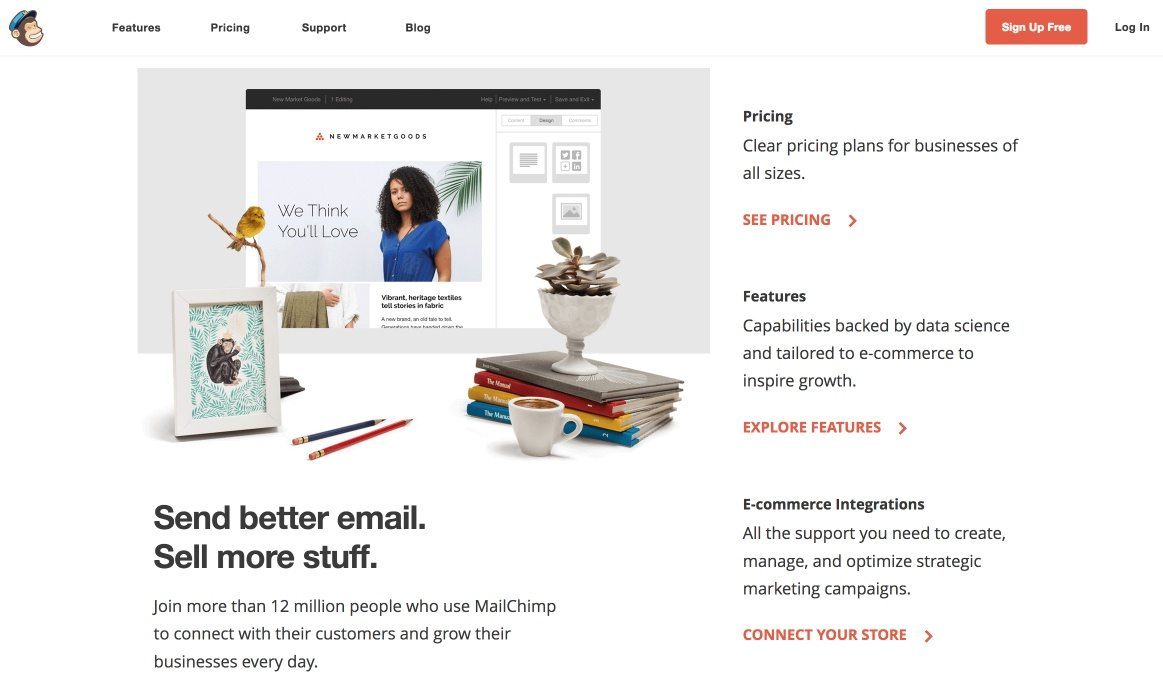 This picture shows how MailChimp uses its homepage for PPC ads instead of a post-click landing page, which can lower conversion rates.