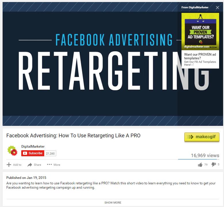 На этом рисунке показано, как Digital Marketer использует «карточные объявления» для создания трафика на своей целевой странице YouTube после нажатия кнопки.
