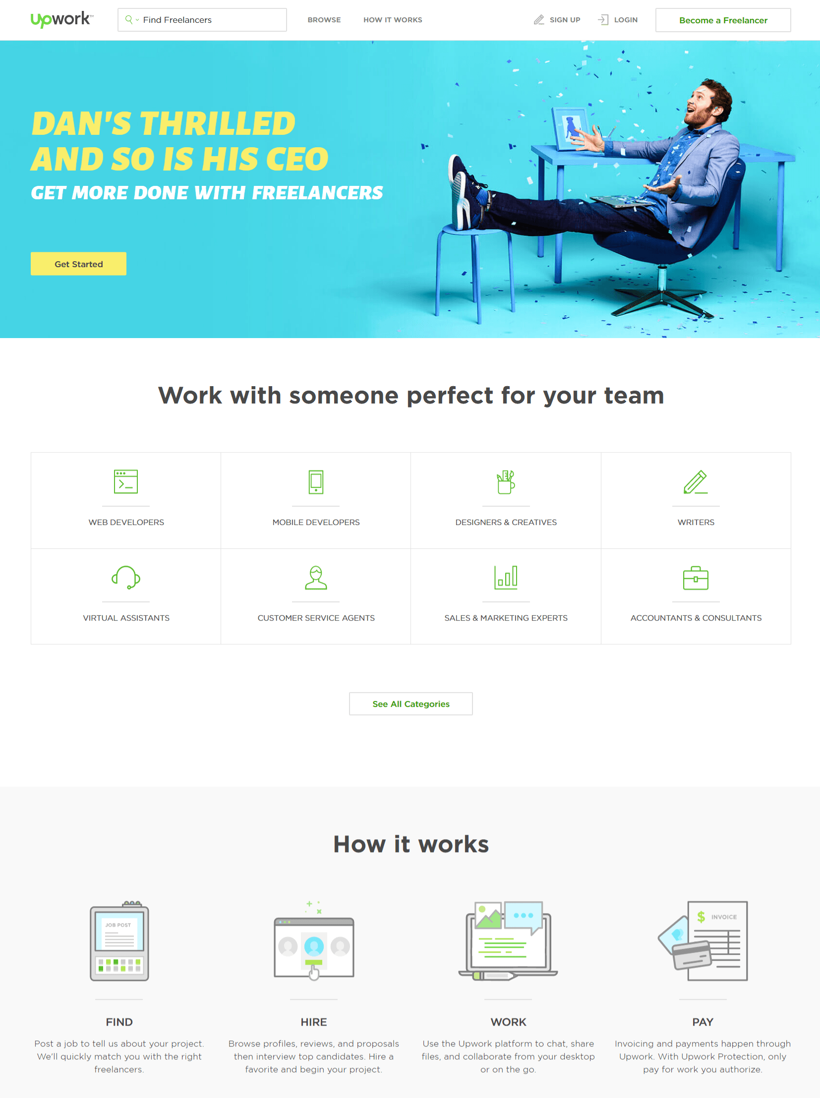 This picture shows marketers how Upwork creates a good visual hierarchy on its website homepage.