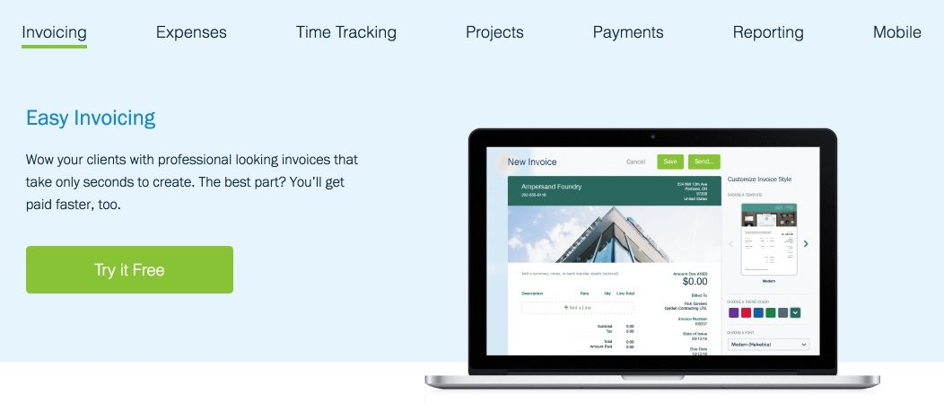 This picture shows marketers how FreshBooks uses a free trial CTA on its post-click landing page design.