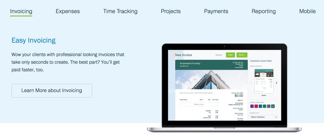 This picture shows marketers how FreshBooks uses a secondary CTA on its website homepage design.