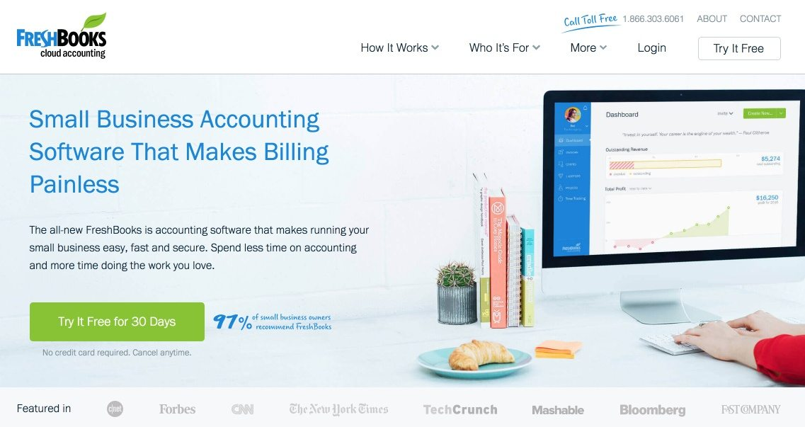 This picture shows marketers how FreshBooks uses a free trial CTA above the fold on its website homepage design.