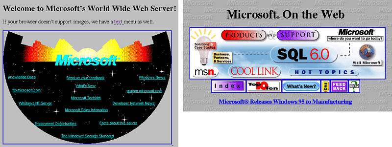 This picture shows marketers how Microsoft used bright colors and no visual hierarchy on its original website homepage design.