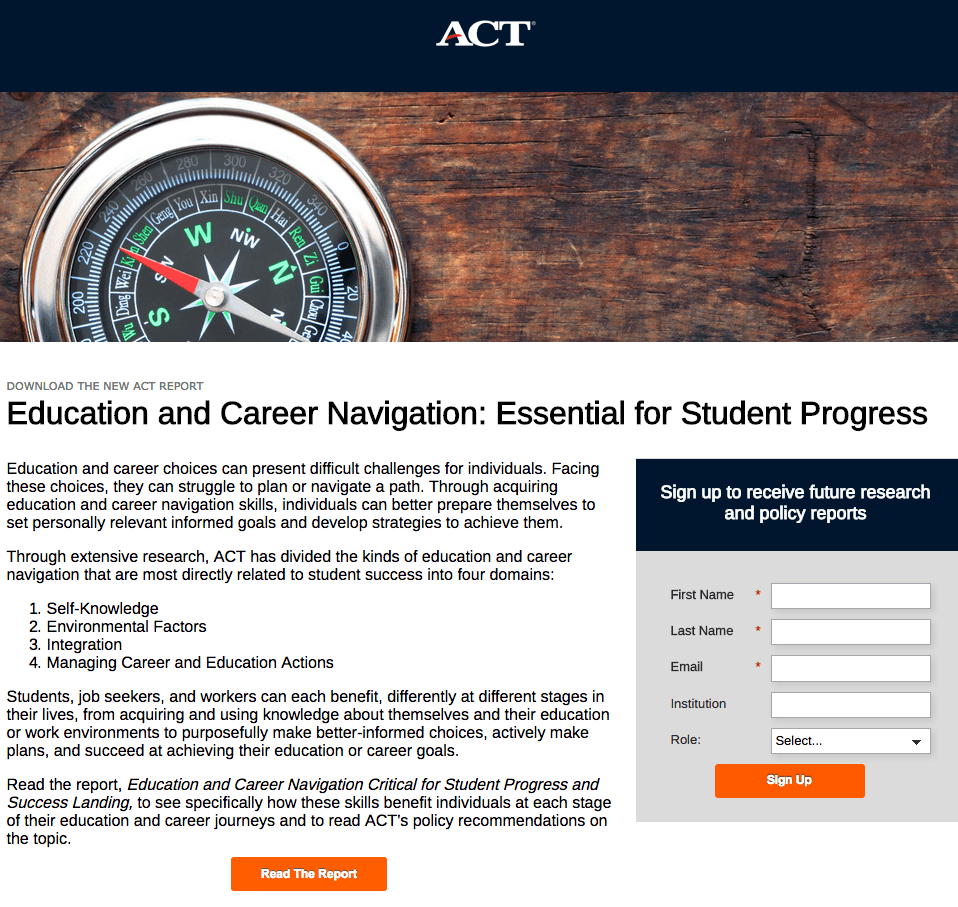 Act Education post-click landing page Example