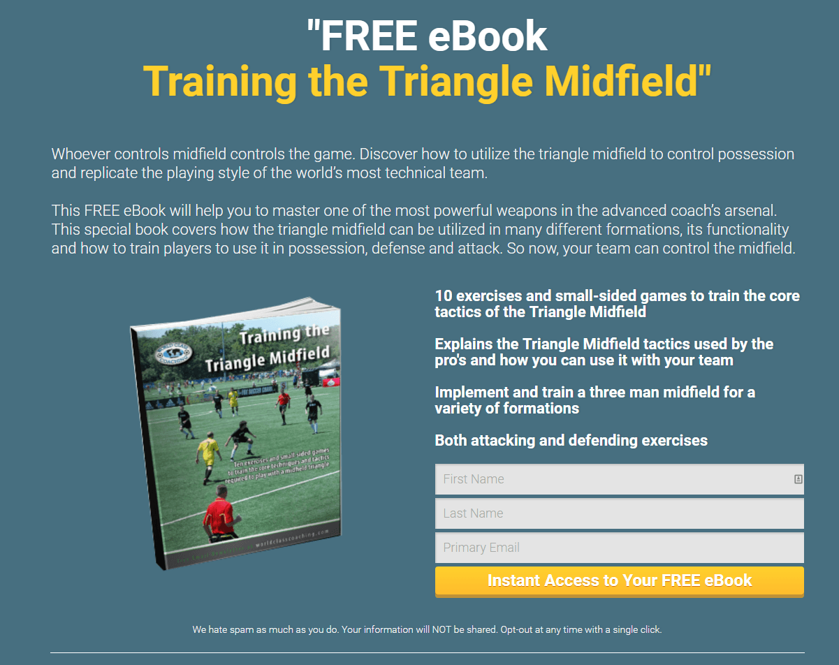 Coaching Soccer Tactics post-click landing page Example