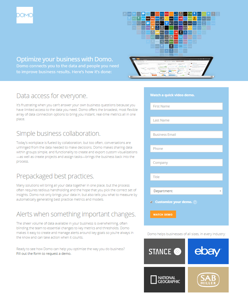 Domo Business Optimization post-click landing page Example