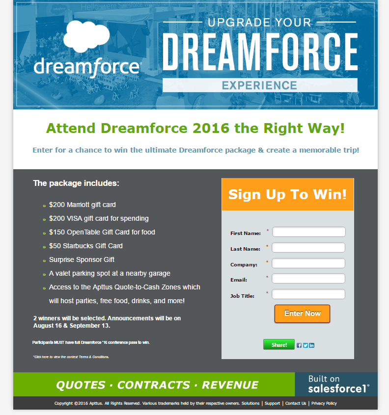 Dreamforce post-click landing page Example