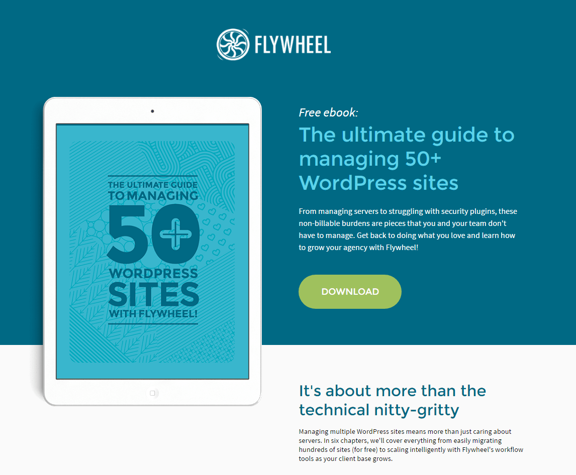 Flywheel post-click landing page Example