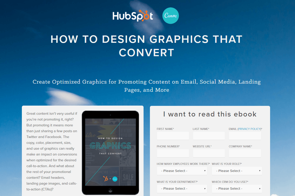 HubSpot Canva post-click landing page Example