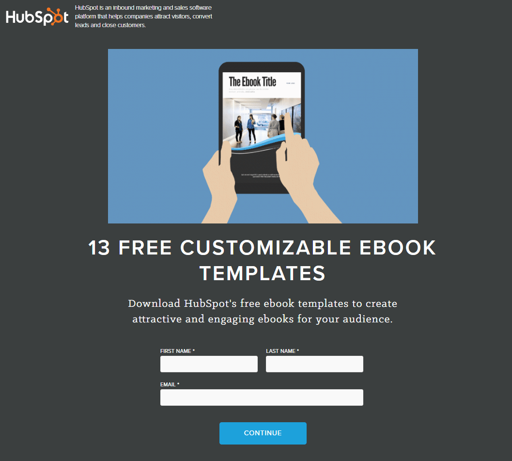 HubSpot ebook Templates post-click landing page Example