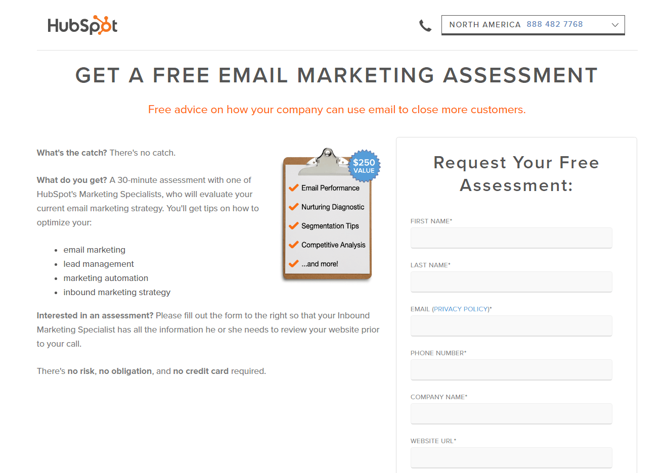 HubSpot Email Assessment post-click landing page Example