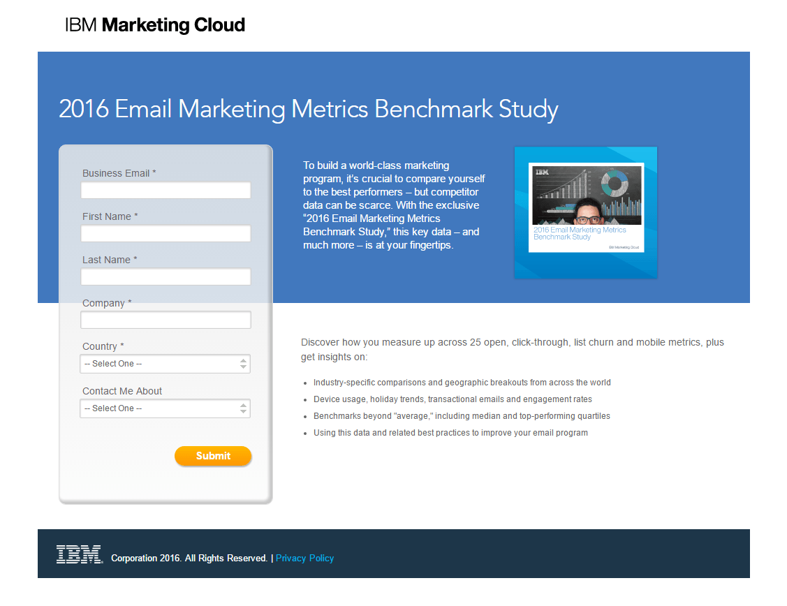 IBM Marketing Cloud post-click landing page Example