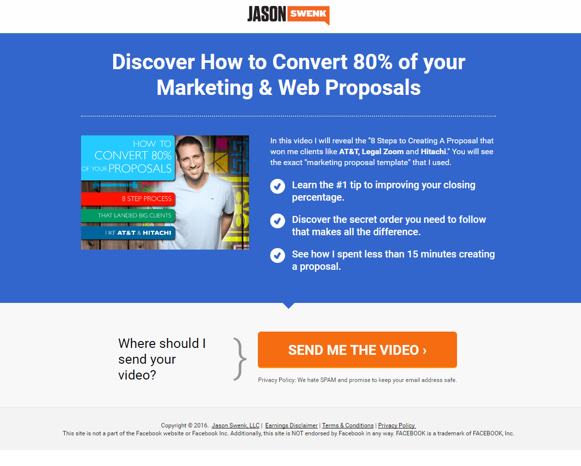 Jason Swenk post-click landing page Example