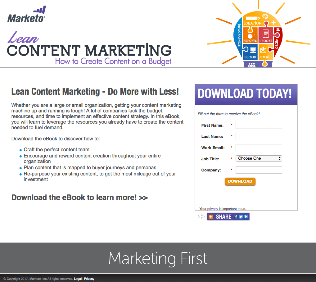 Marketo Content Marketing post-click landing page Example