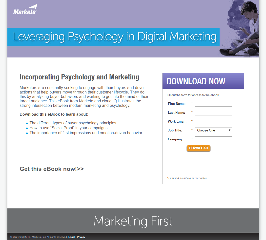 Marketo Psychology post-click landing page Example