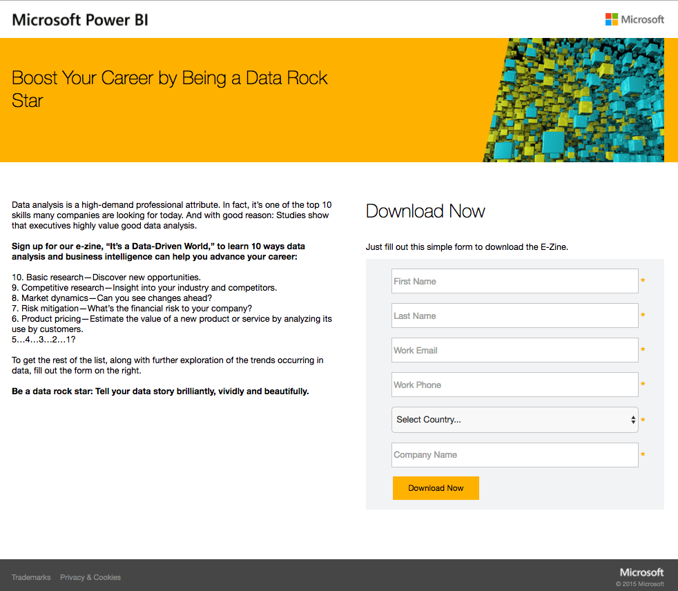 Microsoft Power BI post-click landing page Example