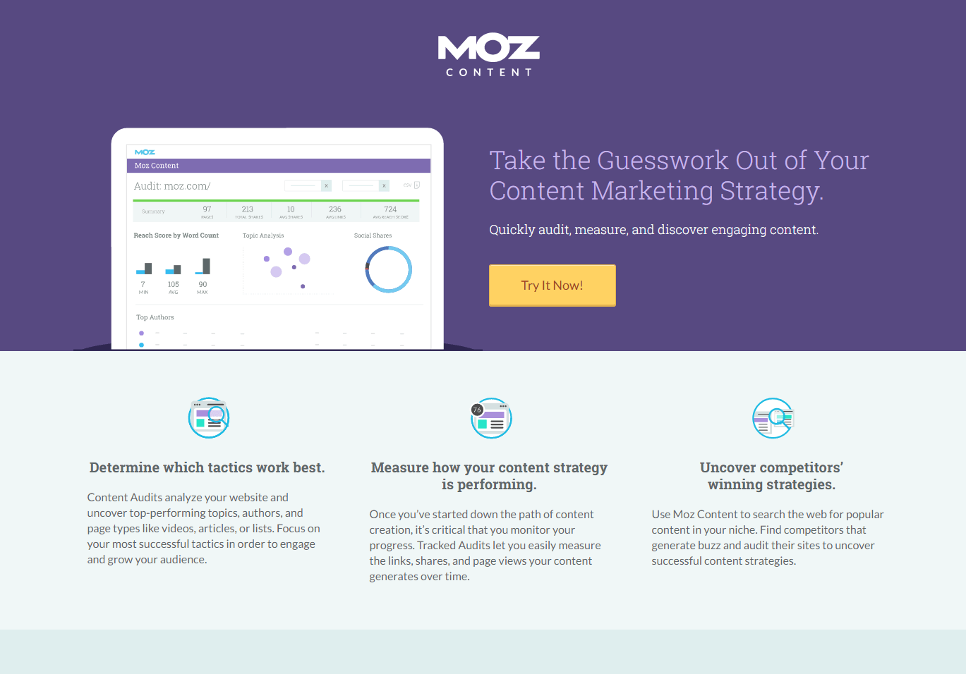 Moz post-click landing page Example