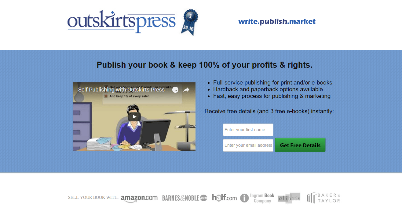 Outskirts Press post-click landing page Example