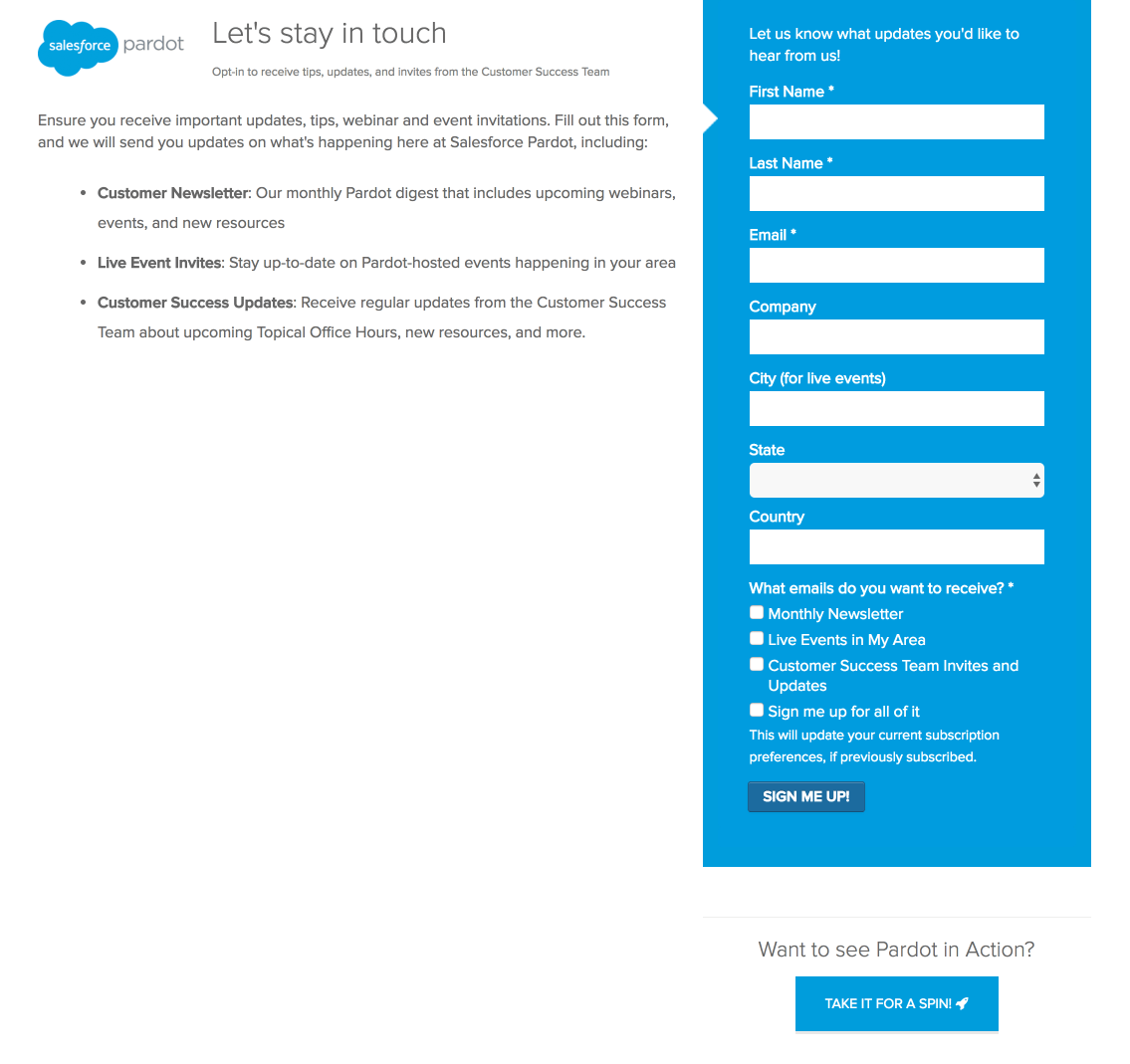 To Sign Up For Pardot Updates