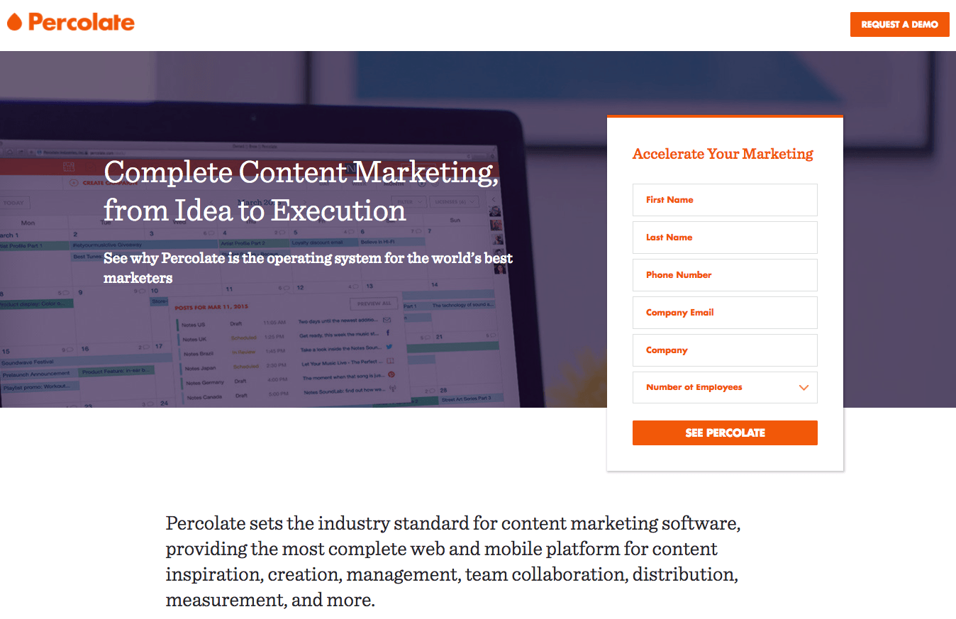 Percolate post-click landing page Example