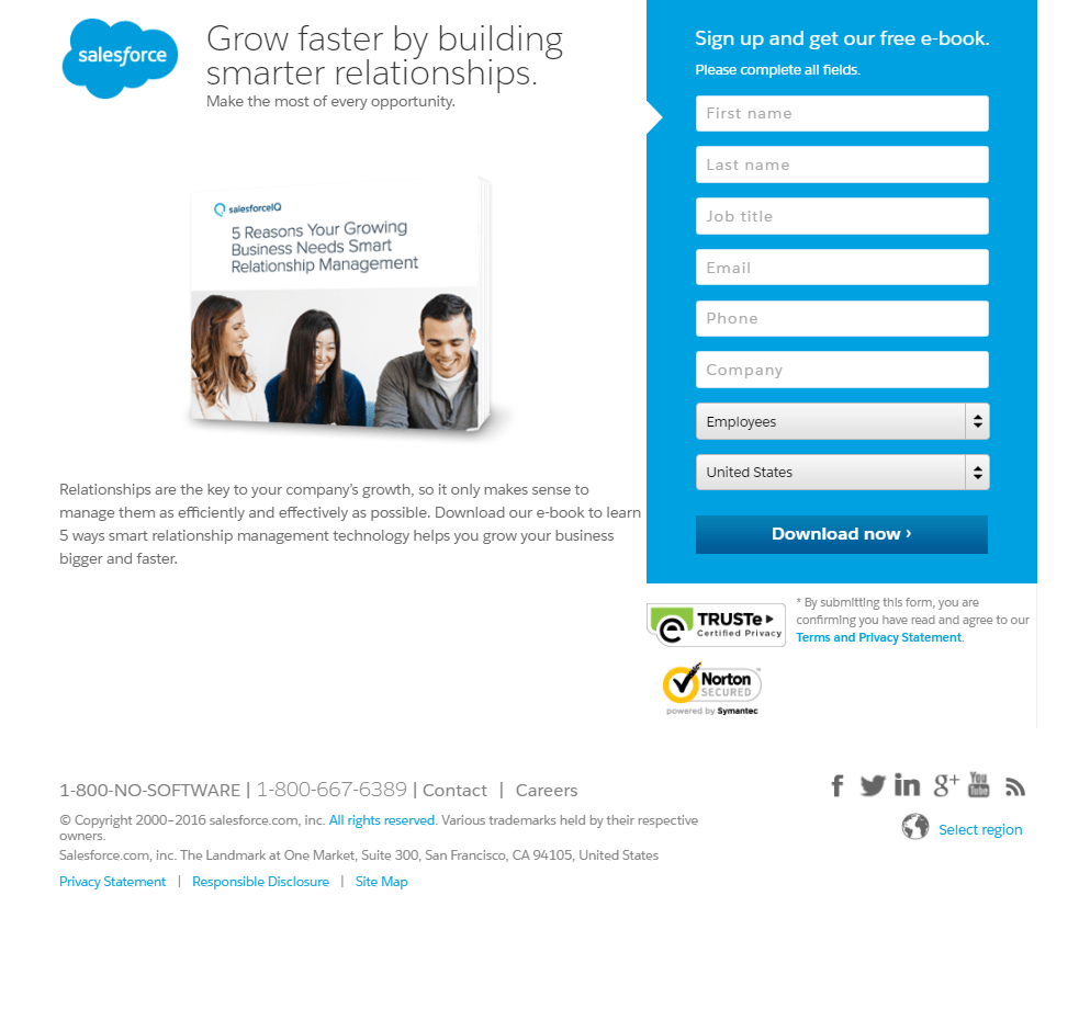 Salesforce Relationship Management post-click landing page Example