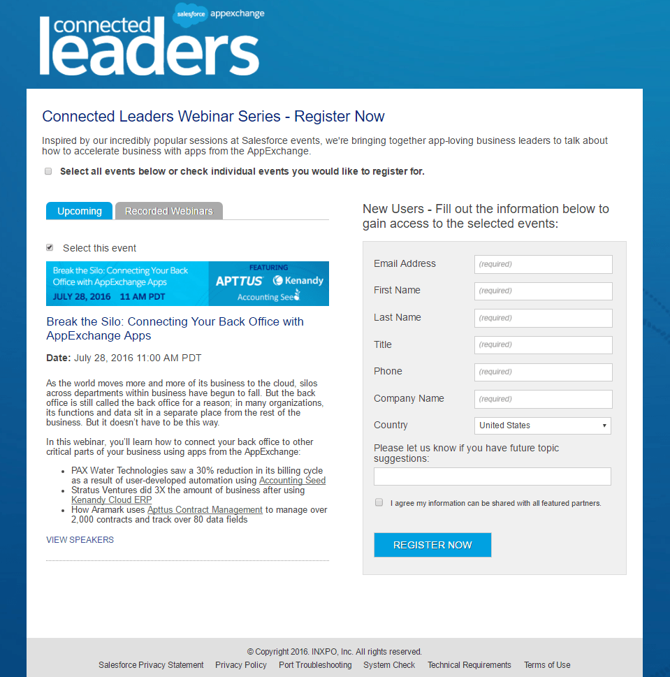 Salesforce Webinar post-click landing page Example