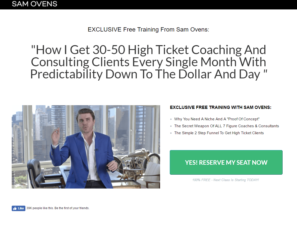 Sam Ovens post-click landing page Example