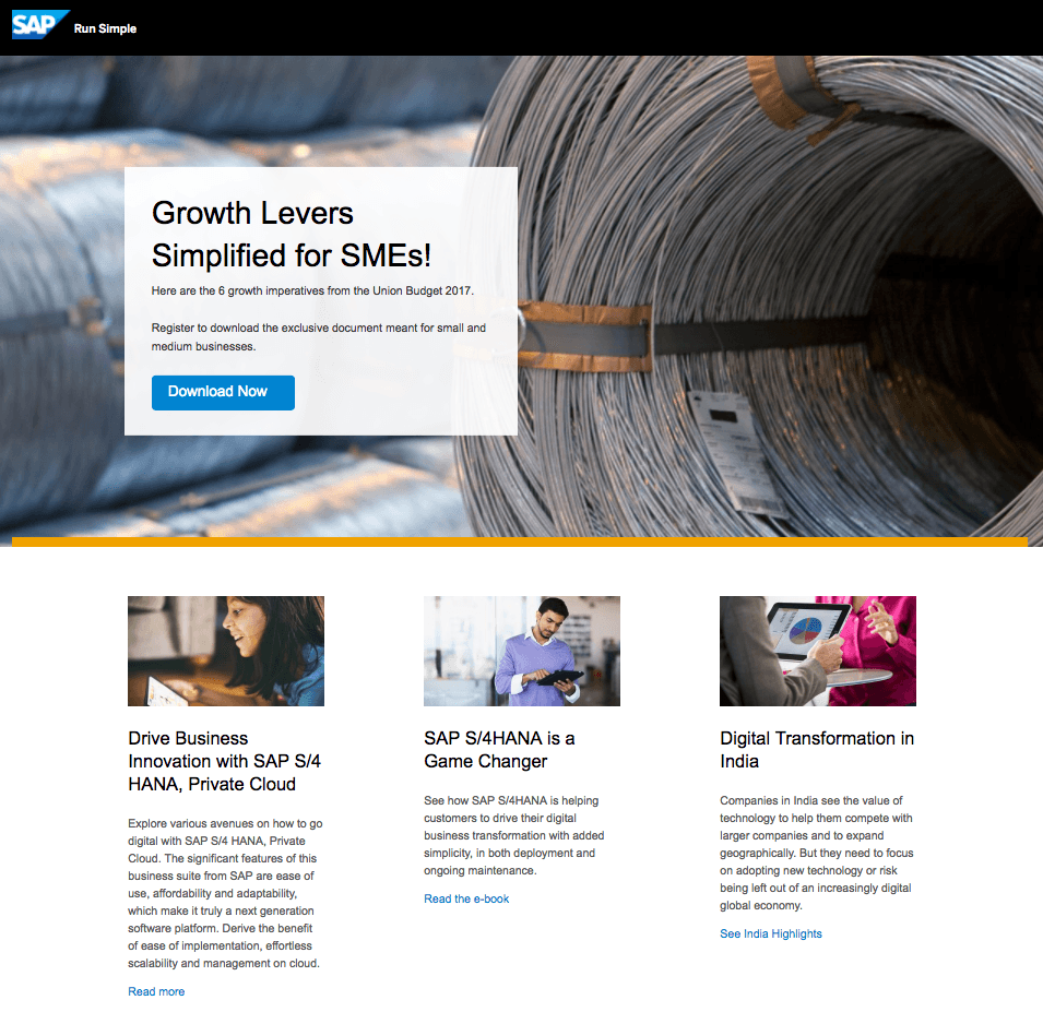 SAP post-click landing page Example