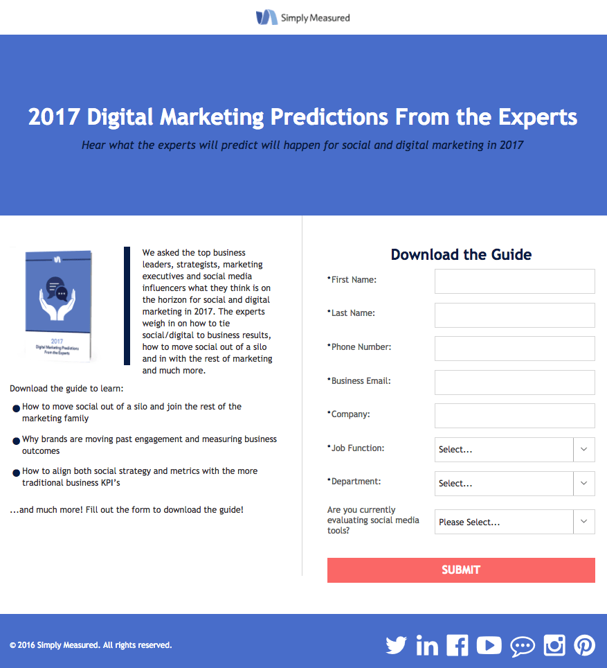 Simply Measured Marketing Predictions post-click landing page Example