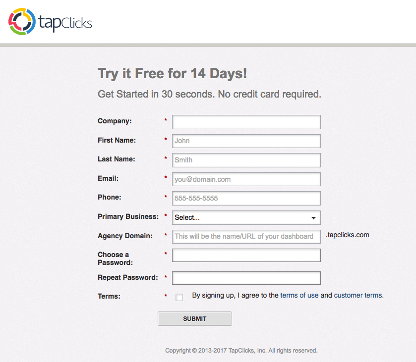 TapClicks post-click landing page Example