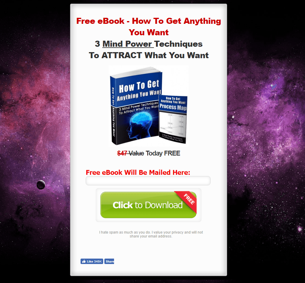 The Law of Attraction World post-click landing page Example