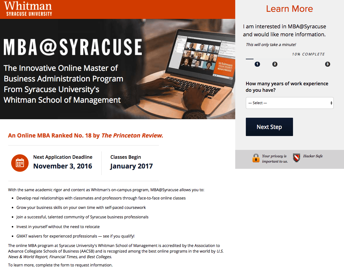 Whitman Syracuse University post-click landing page Example