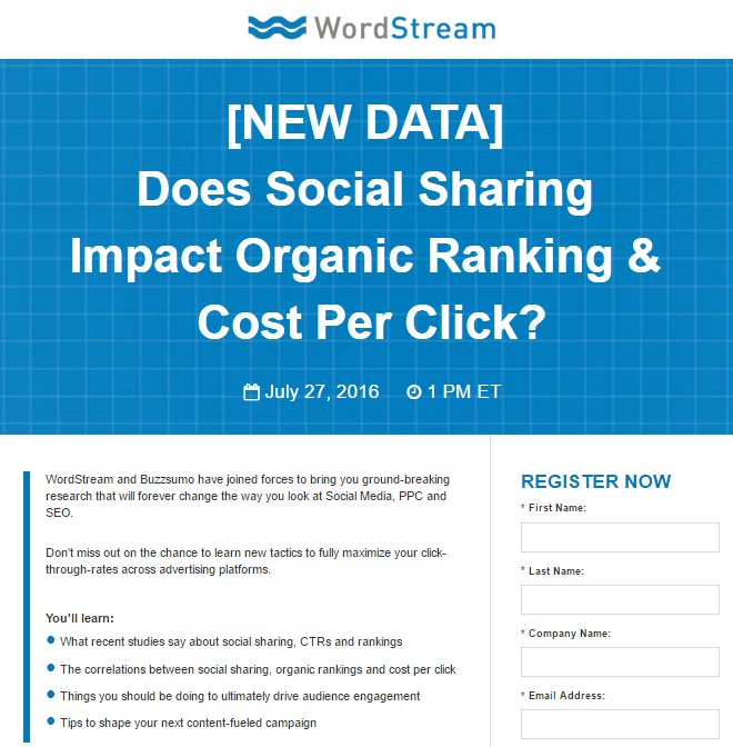 WordStream Social Sharing post-click landing page Example