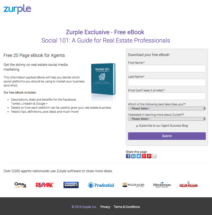 Zurple post-click landing page Example