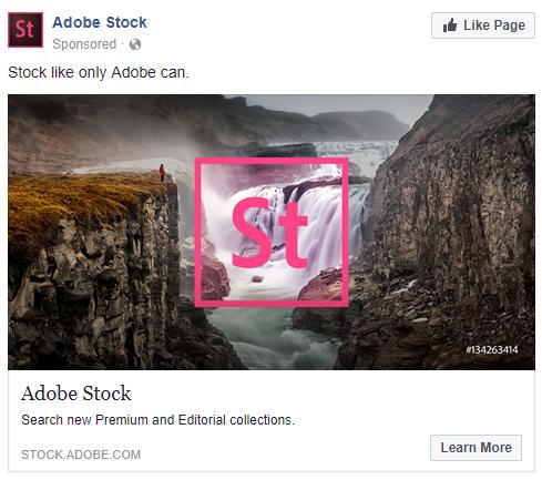 Facebook ads for Adobe Stock