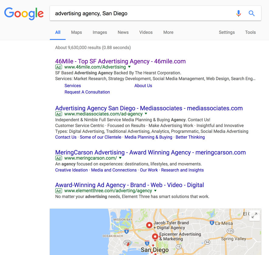 why use Google AdWords first results